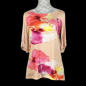 The Limited Pink Watercolor Floral 1/2 Sleeve Top